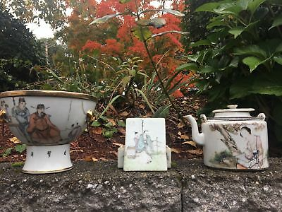 Group Of Three Chinese Famille Rose Antique Bowl Pot, Teapot , Box
