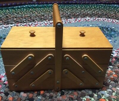 Mid Century Wood Expandable Accordion Sewing Craft Box Vintage