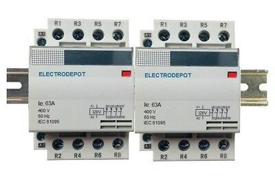 8 Pole Contactor 60Amp Lighting 120V Coil, 2x4 Set AC3 32AMP 40A 50A 30Amp DIN