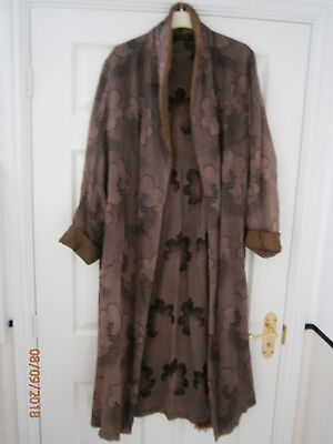 "Vintage AUSTIN REED Mens Dressing Gown. Brown Floral Pattern+Fringed Belt. 42""."
