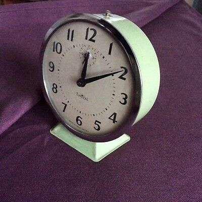 Vintage retro British Smiths Timecal alarm clock in green, spares or repair