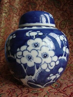 Blue and white prunus ginger jar with cover