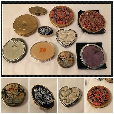 Job Lot Vintage Powder Compact Mirrors Stratton, Hugo Boss, Pill & Trinket Pots