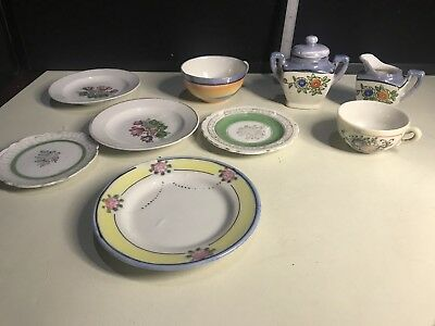 Lot of Assorted made in Japan Tea Pot, Creamer, Plates and Cups (9) Pieces Total