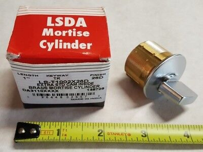"LSDA Brass Mortise Cylinder 1"", Dull Crome Finish 26D, LS T1002X26D, TK Keyway"