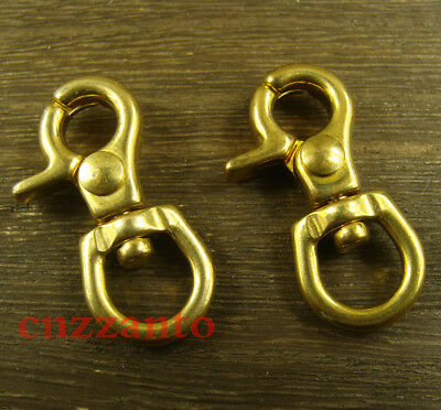 2pcs Mini Solid brass lobster clasps swivel eye trigger Snap hook for keychain