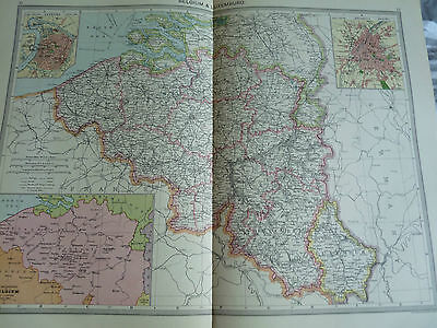 1900/1908 antique map BELGIUMN AND LUXEMBURG  Harmsworth Universal