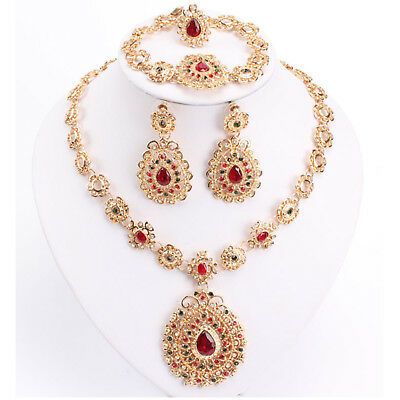 Indian Bollywood Gold Red Crystal Jewellery set Necklace Earring, Ring, Bracelet