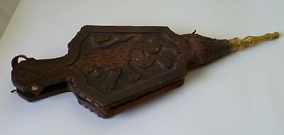Antique Fire Bellows Carved Lion Rampant With Brass Nozzle