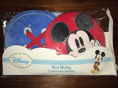 New In Package Infant Disney Mod Mickey 3 piece Soft Plush Wall Hanging