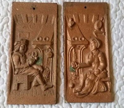 Pair Antique Cast Metal Brass Bronze Plaques Decor 4-250691/2 Man & Woman Heavy