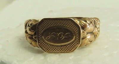 Antique 1837 European 14 kt Rose Gold Hollow Hand Made & Engraved Signet Ring.