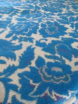 20 Yards Antique Peacock Blue Wool Floral Jacquard Drapery, Upholstery, Fabric
