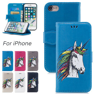 3D Unicorn Horse Magnetic Leather Card Flip Stand Case Cover Fr iPhone X 7 6+ SE