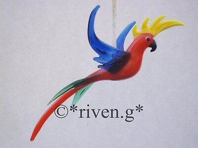 PARROT FIGURINE@FEATHERED CRESTED Glass BIRD@TROPICAL WINGED PET MURANO BIRD