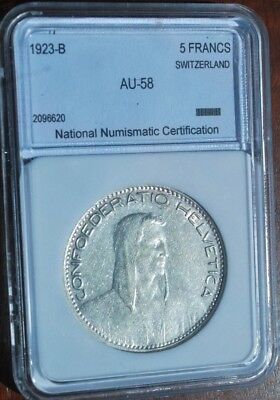 SWITZERLAND 1923-B  5 FRANCS SILVER COIN ALMOST UNCIRCULATED national numim AU58