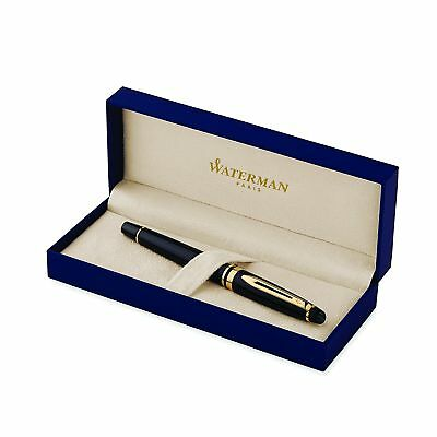 Waterman Expert Black with Golden Trim, Rollerball Pen with Fine Black refill...