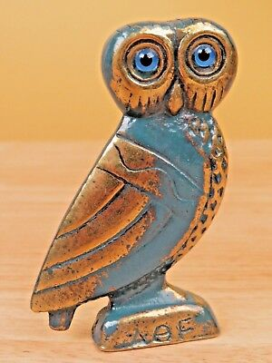 Vintage Brass or Bronze Owl Figurine Alpha Theta Epsilon Greek Blue Glass Eyes R
