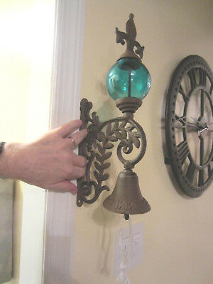 "Vtg Cast Iron 14""  Door Bell Wall Mount w Turquoise Glass Globe Fleur d le"