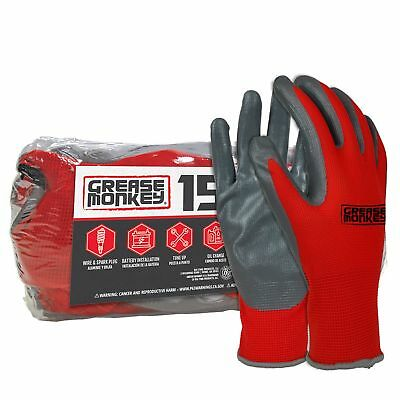 15 Pack Grease Monkey Nitrile Coated Gloves Red & Black (L) Large, Work Mechanic