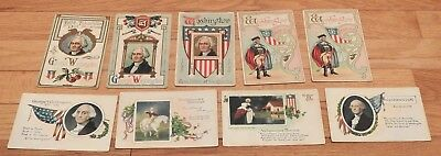 LOT of 8 different GEORGE WASHINGTON Vntg POSTCARDS Early 1900's Embossed & Lith
