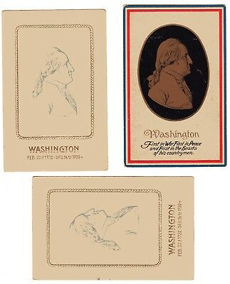 LOT OF 3 GEORGE WASHINGTON Vntg Embossed POSTCARDS Early 1900's Prntd in Germany
