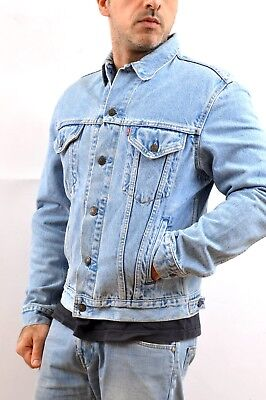 Mens Vintage Levis Red Tab 70503 Medium Blue Denim Cotton Jacket Trucker M SUPER