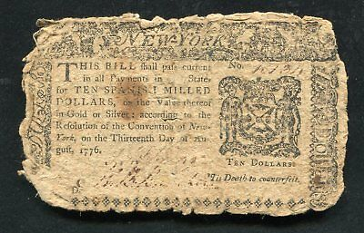 Ny-205 August 13, 1776 $10 Ten Dollars New York Colonial Currency Note