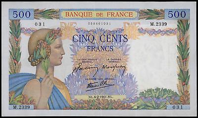 France 500 Francs Pax 1941 Xf++ Beautiful Large Size Banknote No Pin Holes Watch
