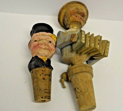 Vintage German Hand Carved Wood Puppet Molded WC Fields Cork Wine Bottle Stopper