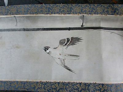 Antique Chinese Hand Painted Silk Scroll Bird In Flight And Bamboo