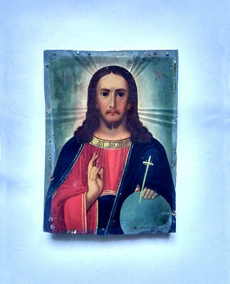 Antique Orthodox Icon Jesus Christ Russian Empire Hand Painted Board 23x17cm