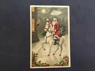 Antique Santa On White Horse Delivering Gifts
