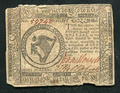 Cc-30 February 17, 1776 $8 Eight Dollars Continental Currency Note