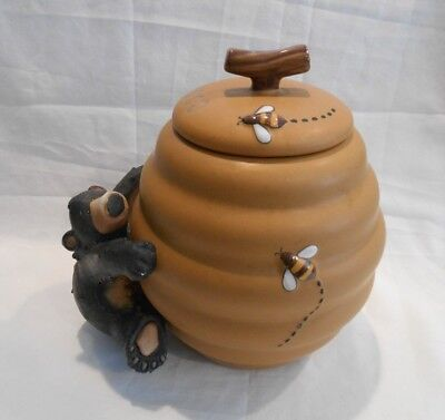 Black Bear Beehive Cookie Jar by Honour Pottery with Gasket Edge Lid