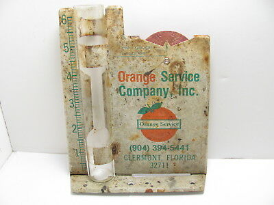 Vintage Metal Advertising Rain Gauge Orange Service Co Clermont Florida