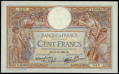 France 100 Francs Merson 1938 Large Size Banknote Xf++/au 2 Pin Holes High Grade