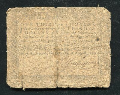 Md-93 August 14, 1776 $1/3 One Third Dollar Maryland Colonial Currency Note