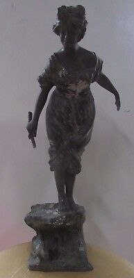 Antique Bronze Statue Of Lady With Rabbit Signed Artist Maker Stamp French