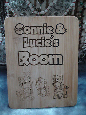 PAW PATROL personalised engraved name door plaque sign for children's bedrooms
