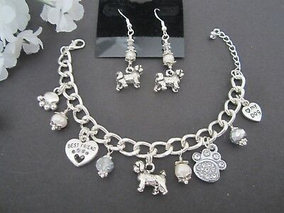 Lhasa Apso / Shih Tzu / Maltese Dog Charm Bracelet & Earrings w/ Pearls Crystals