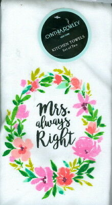 Always Right Right Mrs New Cynthia Rowley Wedding Kitchen Towels Set of 2 Mr