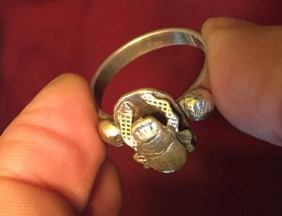 Egypt antique SILVER RING with Scarab  BEETLE RING SIZE 19 ~20