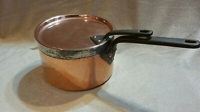 Antique Copper Sauce Pan HARRODS matching lid dovetailed iron handles