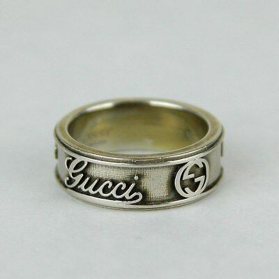Gucci Craft Antique Silver Ring with Script Logo ARG 925 310441 8110