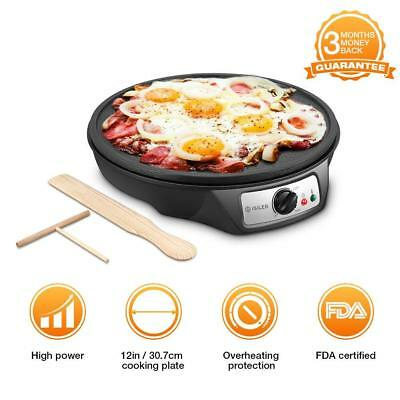 "Electric Crepe Maker, iSiLER 12"" Electric Nonstick Crepe Pan, 1080W Electric"