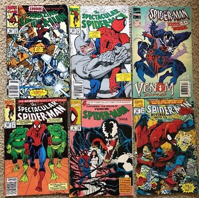 Vintage Lot Of 6 Spider-Man DC Comic Books 1992& 1995 Pre Owned Good