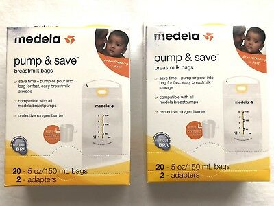Lot Of 2 Medela Pump & Save 20 / 5oz Breastmilk Bags, 2 Adapters