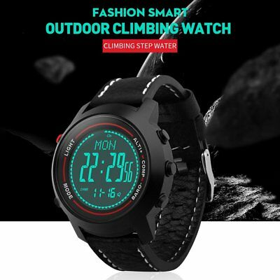Men Outdoor PU Leather Strap Stainless Steel Dial Mountaineer Sports Watch NS