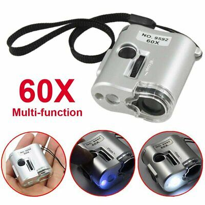 Mini 60X Microscope Magnifier Glass Jeweler Detector Loupe Len with LED UV Light